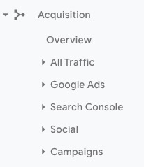 Google Analytics acquisition report menu