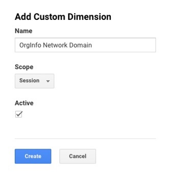 Google Analytics add custom dimension - Network Domain