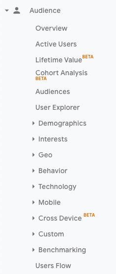 Google Analytics audience report menu
