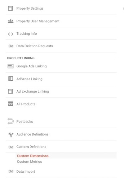 Google Analytics custom definitions
